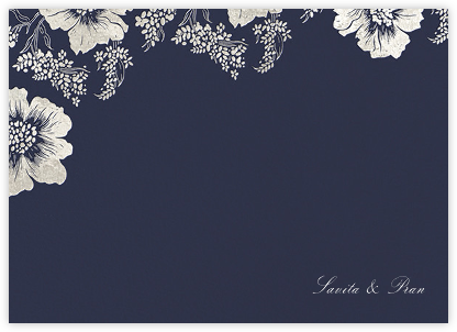 Falling Poppies II (Stationery) - Navy/Silver - Oscar de la Renta - Personalized Stationery