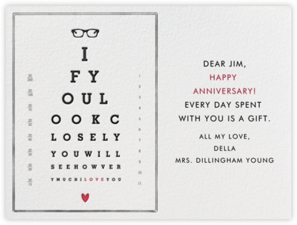Eye Chart - Mr. Boddington's Studio - Anniversary Cards