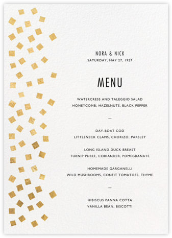 Fette (Menu) - Gold/White - Kelly Wearstler - Kelly Wearstler wedding