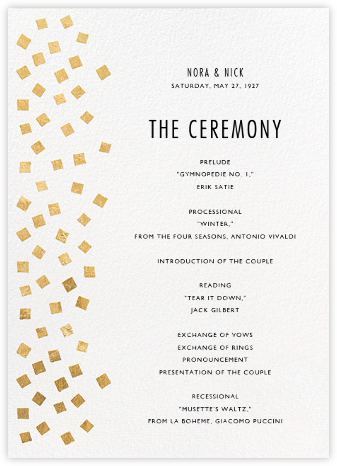 Fette (Program) - Gold/White - Kelly Wearstler - Wedding menus and programs - available in paper