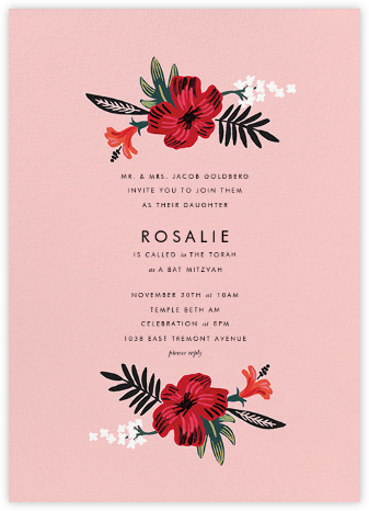 Kona Floral (Invitation) - Pavlova - Rifle Paper Co. - Bat and Bar Mitzvah Invitations