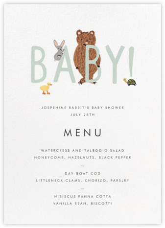 Bunny Bear and Baby (Menu) - Mint - Rifle Paper Co. -