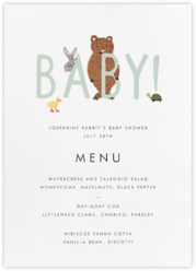 Bunny Bear and Baby (Menu) - Mint
