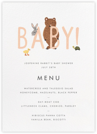 Bunny Bear and Baby (Menu) - Peach - Rifle Paper Co. - Rifle Paper Co. Invitations