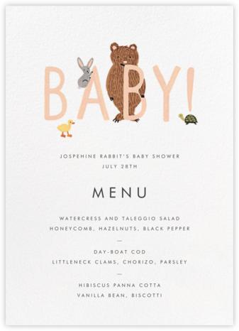 Bunny Bear and Baby (Menu) - Peach | null