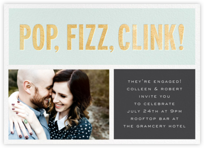 Pop Fizz Clink! (Horizontal Photo) - kate spade new york - Engagement party invitations