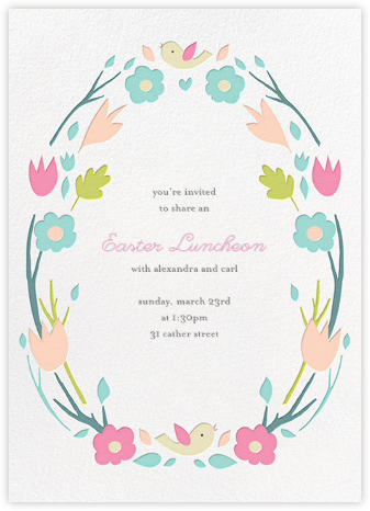 Ring Around the Daisy - Pink - Little Cube - Easter Invitations