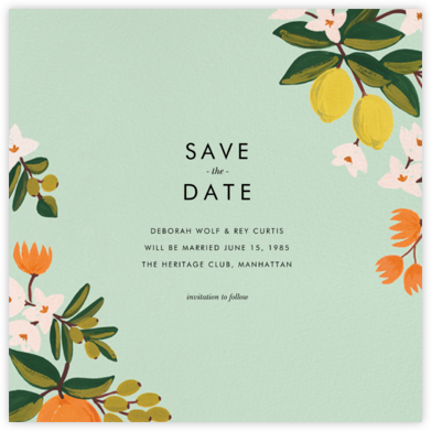 Citrus Orchard Suite (Save the Date) - Mint - Rifle Paper Co. - Save the dates