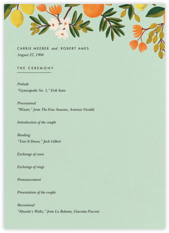 Citrus Orchard Suite (Program) - Mint - Rifle Paper Co. - Rifle Paper Co. Wedding