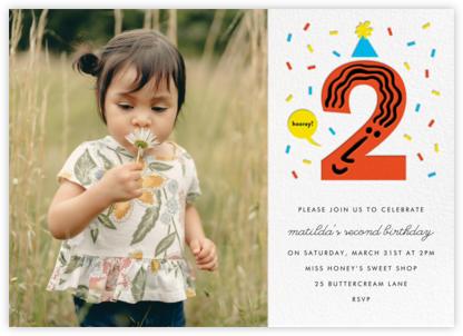 Birthday Faces Photo (Two) - White - The Indigo Bunting - Online Kids' Birthday Invitations
