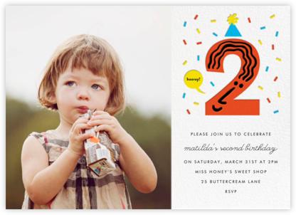 Birthday Faces Photo (Two) - White - The Indigo Bunting - Birthday invitations