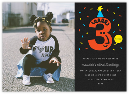 Birthday Faces Photo (Three) - Black - The Indigo Bunting - Online Kids' Birthday Invitations