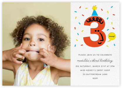 Birthday Faces Photo (Three) - White - The Indigo Bunting - Kids' birthday invitations