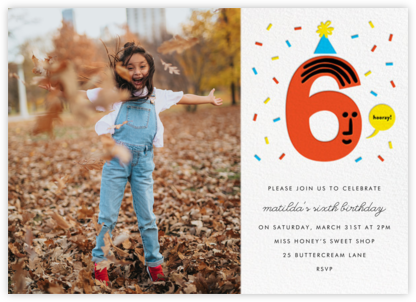 Birthday Faces Photo (Six) - White - The Indigo Bunting - Online Kids' Birthday Invitations
