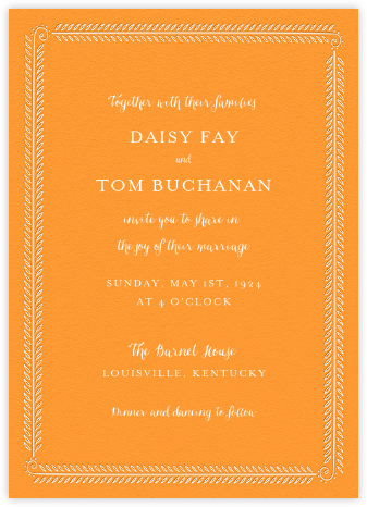 Filigree Vine Tall - Tangelo - Paperless Post - Wedding Invitations