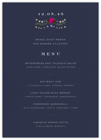 Damascena (Menu) - Navy - Paperless Post -