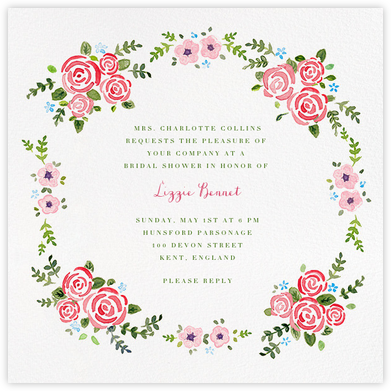 Rose Garland - Paperless Post - Bridal shower invitations