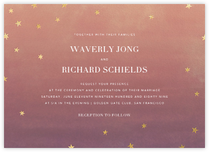 L'Heure Bleue (Invitation) - Gold - Paperless Post - Wedding Invitations