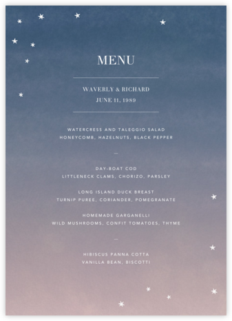 L'Heure Bleue (Menu) - Paperless Post - Wedding menus and programs - available in paper