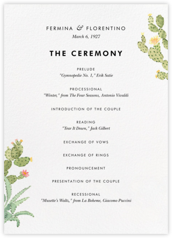 Sonora (Program) - Paperless Post - Wedding menus and programs - available in paper