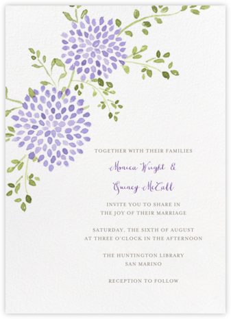 Dahlias (Tall) - Purple - Paperless Post - Wedding Invitations