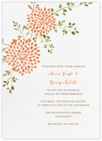 Dahlias (Tall) - Pumpkin - Paperless Post - Wedding Invitations