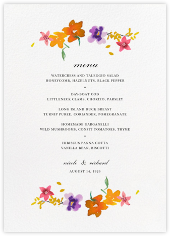 Spring Market (Menu) - Happy Menocal - Wedding menus and programs - available in paper