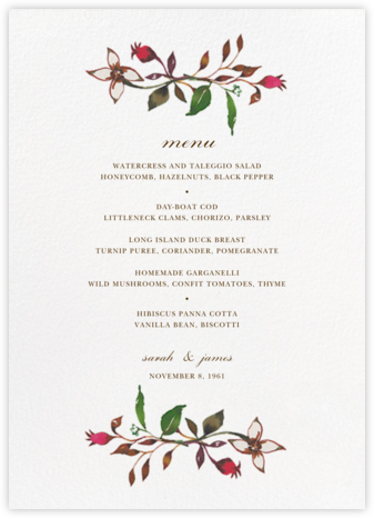 Harvest Market (Menu) - Happy Menocal - Wedding menus and programs - available in paper
