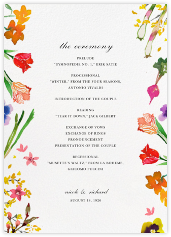 Spring Market (Program) - Happy Menocal - Wedding menus and programs - available in paper