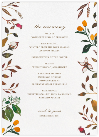 Harvest Market (Program) - Happy Menocal - Wedding menus and programs - available in paper