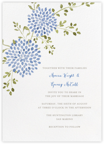 Dahlias (Tall) - Blue - Paperless Post - Romantic wedding invitations