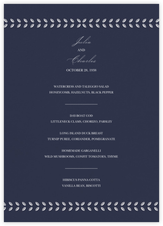 Lamina II (Menu) - Navy - Paperless Post - Wedding menus and programs - available in paper
