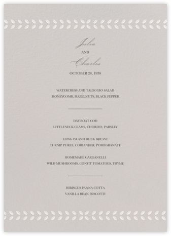 Lamina II (Menu) - Oyster - Paperless Post -