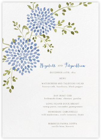Dahlias (Menu) - Blue - Paperless Post - Wedding menus and programs - available in paper