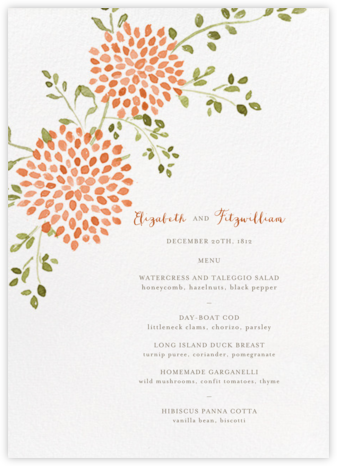 Dahlias (Menu) - Pumpkin - Paperless Post - Wedding menus and programs - available in paper