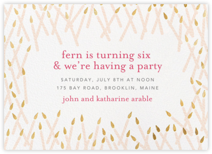 Candle Party - Light Pink/Gold - Ashley G - Online Kids' Birthday Invitations