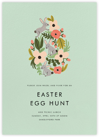 The Rabbit or the Egg - Mint - Rifle Paper Co. - Easter Invitations