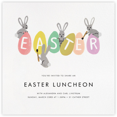 Bunny Brushstrokes - Rifle Paper Co. - Rifle Paper Co. Invitations