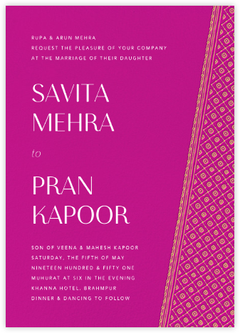 Choli (Invitation) - Magenta - Paperless Post - Indian Wedding Cards