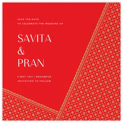 Choli (Save the Date) - Red - Paperless Post - Destination Save the Dates
