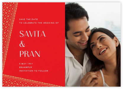 Choli (Photo Save the Date) - Red - Paperless Post - Save the dates