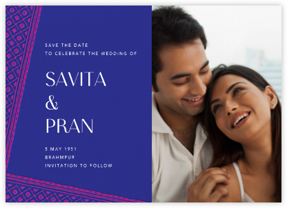 Choli (Photo Save the Date) - Indigo - Paperless Post - Save the dates
