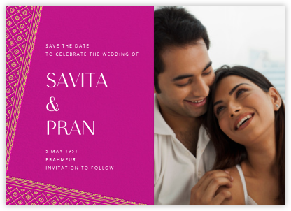 Choli (Photo Save the Date) - Magenta - Paperless Post - Save the dates