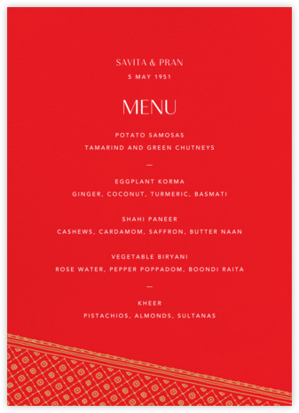 Choli (Menu) - Red - Paperless Post - Wedding menus and programs - available in paper
