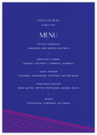 Choli (Menu) - Indigo - Paperless Post -