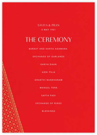 Choli (Program) - Red - Paperless Post - Wedding menus and programs - available in paper