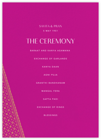 Choli (Program) - Magenta - Paperless Post - Wedding menus and programs - available in paper