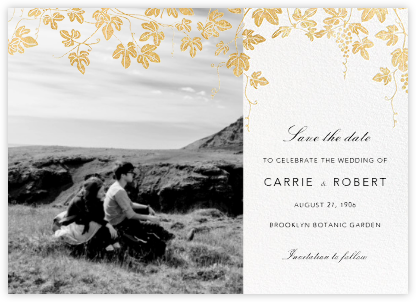 Vineyard II (Photo Save the Date) - Gold - Paperless Post - Photo save the dates