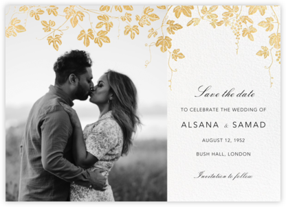 Vineyard II (Photo Save the Date) - Gold - Paperless Post - Save the dates