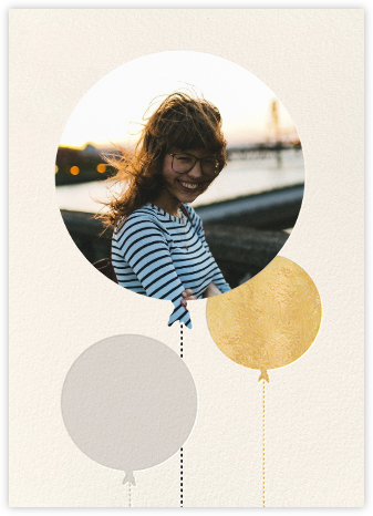 Balloon Birthday (Photo) - Gold - kate spade new york - Adult Birthday Invitations